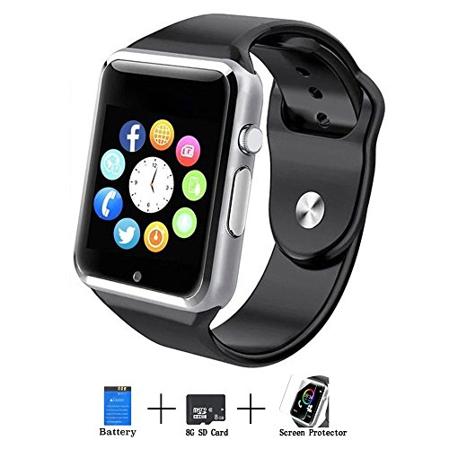 Axceed A1 Smart Watch, Bluetooth Touch Screen Smartwatch Phone With Camera Mic Speaker Texting Pedometer Social Media Notifications Sleep Monitor Music Player For Android Samsung Huawei iPhone - Black by Axceed