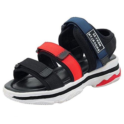 TAOFFEN Women Wedge Heel Sandals Strap Blue II1OBNFihA