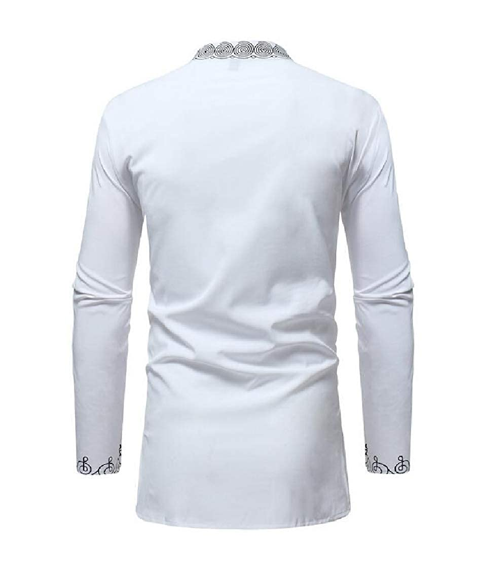 Sweatwater Mens Long-Sleeve Simple Printed Folk Style Stand Collar Shirts