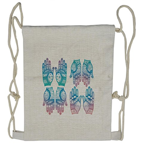Lunarable Gypsy Drawstring Backpack  Henna Arabesque Tattoo  Sackpack Bag