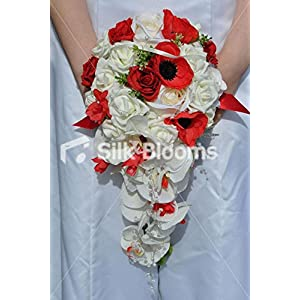 Unique Silk Ivory and Red Rose Cascade Wedding Bouquet with Red Anemones 71