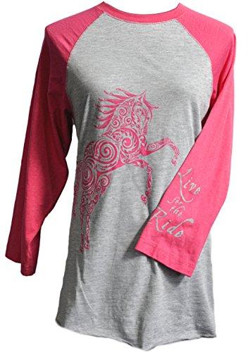 Live for the Ride Paisley Pony Baseball Jersey 3/4 sleeve shirt pink - Friday Black Sale Usa