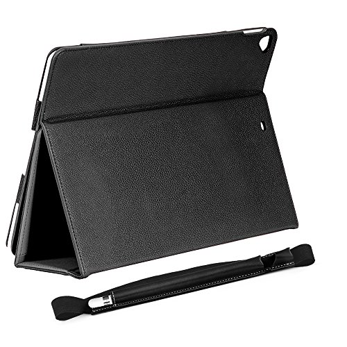COCASES Case for iPad Pro 9.7 2016, iPad 9.7 2017, iPad Air, iPad 6th Gen 2018, PU Leather Flip Stand Smart Cover Auto Sleep/Wake Pencil Holder Hand Strap Card Slot Document Pocket Black 9.7'' by COCASES (Image #1)