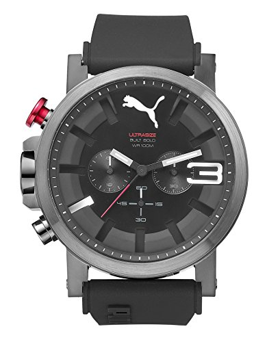 Men's Puma Ultrasize Black And Grey Silicone Chronograph Watch PU103981004