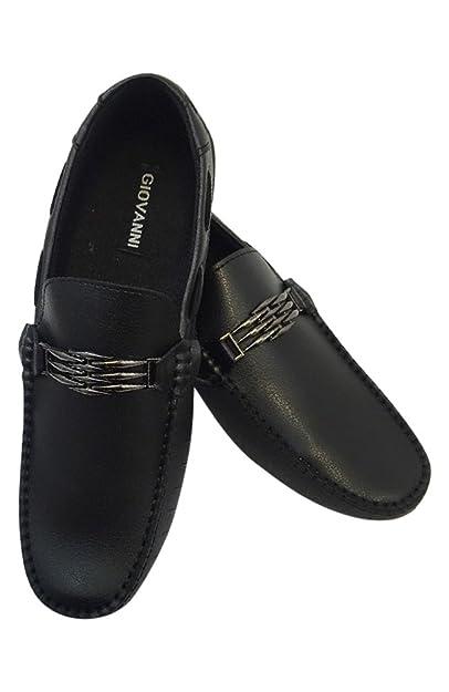 eea66b9e95f Men s Giovanni Loafer Dress Shoes Italian Style Slip On Black with Black  Stitch 788-12