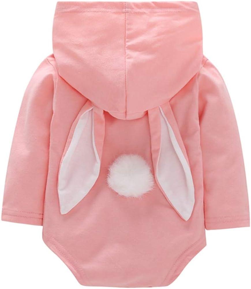 Forartt Newborn Kids Baby Boy Girl Bunny Romper Warm Hooded Jumpsuit Outfits