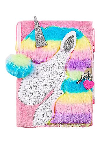 Justice Faux Fur Unicorn Diary / Journal with Heart Lock, Pink Pen, and Pom Ribbon ()