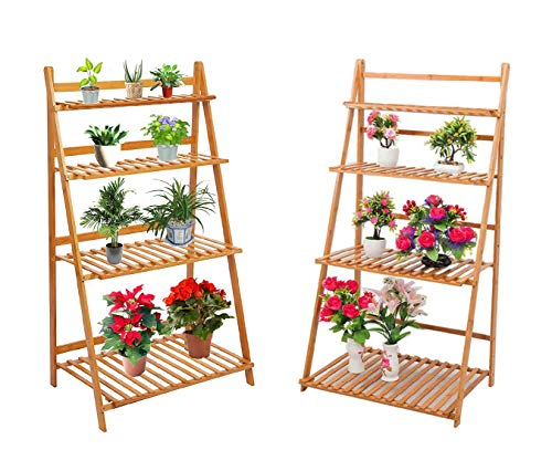 Dporticus 2 Pack 4-Tier Natural Bamboo Plant Stand Foldable Pot Racks Flower Organizer Display Shelves Indoor and Outdoor Use 27.4 x 17.7 x 48 inches (L x W x H)