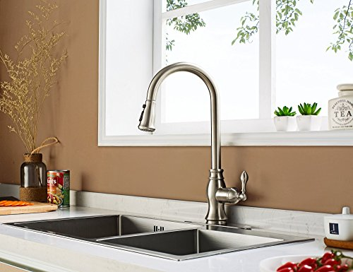 Enzo Rodi Antique Gooseneck Single Handle Pull Down Kitchen Faucet