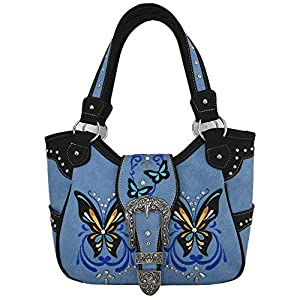 Western Style Butterfly Tooled Buckle Concealed Carry Purse Country Handbag Women Shoulder Bag Wallet Set (#2 Aqua)