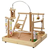 QBLEEV Parrot Wood Stand Perch Bird Cage Playstand Naturals Playground Playgym Playpen Ladder With Toy Exercise Decorative Play Set Supplies 13.7''L12.6''W11''H