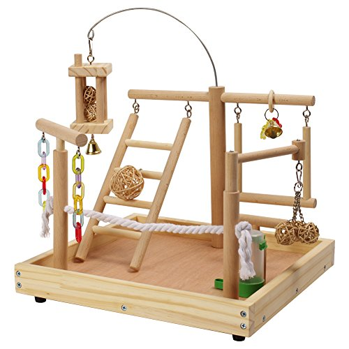 Parrot Playpen (QBLEEV Parrot Wood Stand Perch Bird Cage Playstand Naturals Playground Playgym Playpen Ladder With Toy Exercise Decorative Play Set Supplies 13.7