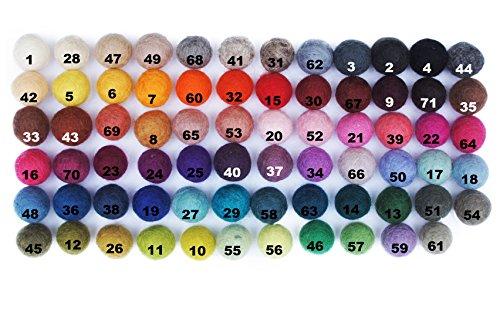 ceee904a24 Colección llena de color de 100 bolas de fieltro