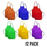 Toys : 12 Pack Children Painting Aprons - Senfhome Assorted Colors Children's Art Smock & Non-woven Fabric Aprons for Kitchen, Classroom, Painting Activity.
