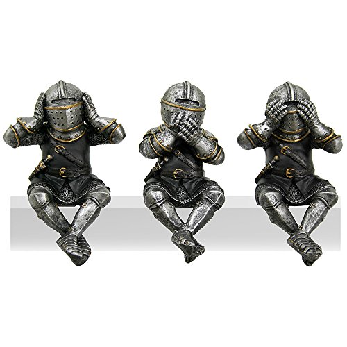 Pacific Giftware Medieval Knights See No Evil Speak No Evil Hear No Evil Whimsical Funny Knights Shelf Sitters Collectible Set