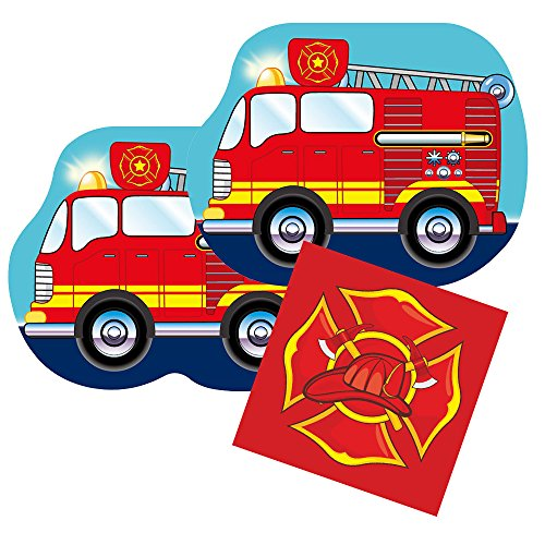 Blue Orchards Fire Truck Shaped Plate & Napkin Sets (35+ Pieces for 16 Guests!), Firefighter Birthday Supplies, Fire Truck Tableware Sets, Fireman Party Decorations by Blue Orchards