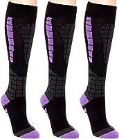 3 Pack Women's Ski Socks - Over The Calf Snow Socks for Snowboarding, Skiing by LISH