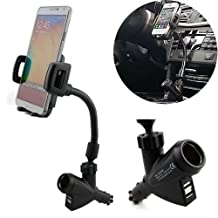 Geekercity Dual 2 USB Charging Ports Car Charger Cradle Mount Holder Stand with Cigarette Lighter Charger DC Port, 360° Rotating Adjustable Car Mount Stand Holder for Apple iPhone 6 Plus/6/5/5S/5C/4/4S, Samsung Galaxy S6/S5/S4/S3/S5 Mini/S4 Mini, Galaxy Note 4/3/2/Edge, LG tribute, G3/G2, optimus l70/l90/G Pro, Nokia Lumia 1020/635/520/930/1520, Lenovo S8 S898T/A850, Sony Xperia Z3/Z2/Z1/Z1 Compact,Huawei G610/Ascend Mate 7/2/P7/P6/Honor 6, Google Nexus 7/6/5, BlackBerry Z10 Cell Phones Smartphones