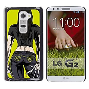 FECELL CITY // Duro Aluminio Pegatina PC Caso decorativo Funda Carcasa de Protección para LG G2 D800 D802 D802TA D803 VS980 LS980 // Chick Babe Yellow Cartoon