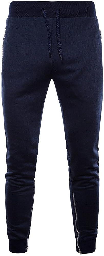 YanHoo Pantalón de Hombre con Cremallera Lateral Pantalones ...