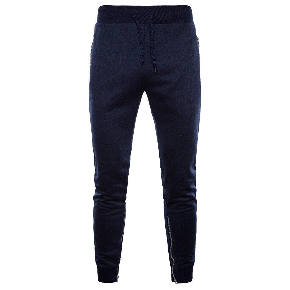 Cebbay Pantalon de Sport Homme Pantalons Pieds, Pantalons Décontractés Fermeture Éclair Pantalon De Grande Taille, Automne Hiver Pantalons Nouveau