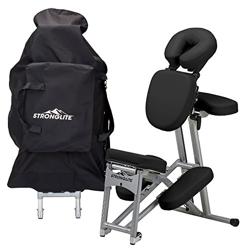 Stronglite EPC2BL Ergo Pro II Portable Massage Chair Package - Lightweight, Foldable Tattoo Spa Massage Chair with wheels (only 19lbs), Black - Massage Package