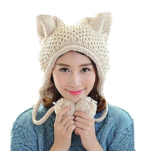BIBITIME Women's Hat Cat Ear Crochet Braided Knit Caps Warm Snowboarding Winter (One size, Beige)