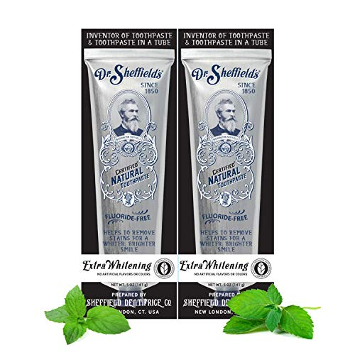Dr. Sheffield's Certified Natural Toothpaste (Extra-Whitening) 2 Pack (Natural Toothpaste Whitening)