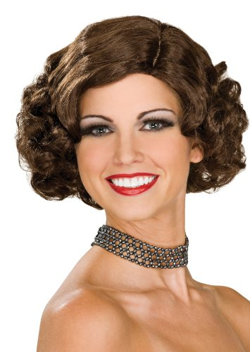 Rubie's Flapper Wig, Brunette, One Size (Flapper Brown Wig)