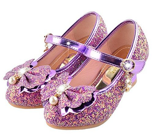 Bumud Girls Mary Jane Wedding Party Shoes Glitter Bridesmaids Low Heels Princess Dress Shoes (8 M US Toddler, Purple)