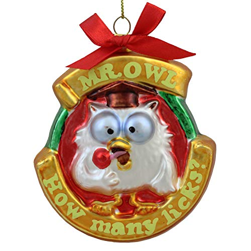 Northlight Roll Pop Original Candy-Filled Lollipop Mr. Owl Glass Christmas Ornament, 3.5