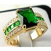 khamchanot Fashion Women 14K Yellow Gold Filled Emerald Ring Wedding Bridal Jewelry Sz 6-10 (9)