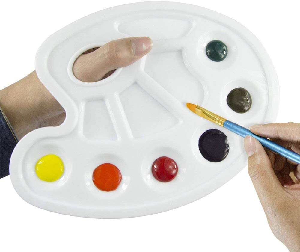 Oil Watercolor Paints /& Paint Brushes CDJX Paint Palette Paint,10 Pieces Paint Tray Palettes with 10 Grid Thumb Hole Watercolor Palette Plastic Painting Pallete for Acrylic