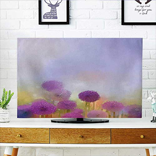 Jiahonghome Cover for Wall Mount tv Onion in Meadow Pastoral Scenery at Springtime Illustration Lavander Purple Cover Mount tv W32 x H51 INCH/TV (Onion Wall Mounted Outdoor Light)