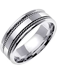 14k white gold braided rope edge mens comfort fit wedding band 7mm - Mens Wedding Rings White Gold