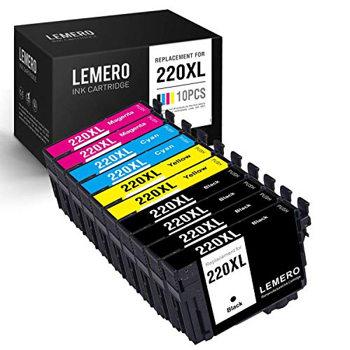 LEMERO Remanufactured Ink Cartridge Replacement for Epson T220XL ( Black,Cyan,Magenta,Yellow , 10-Pack) ()