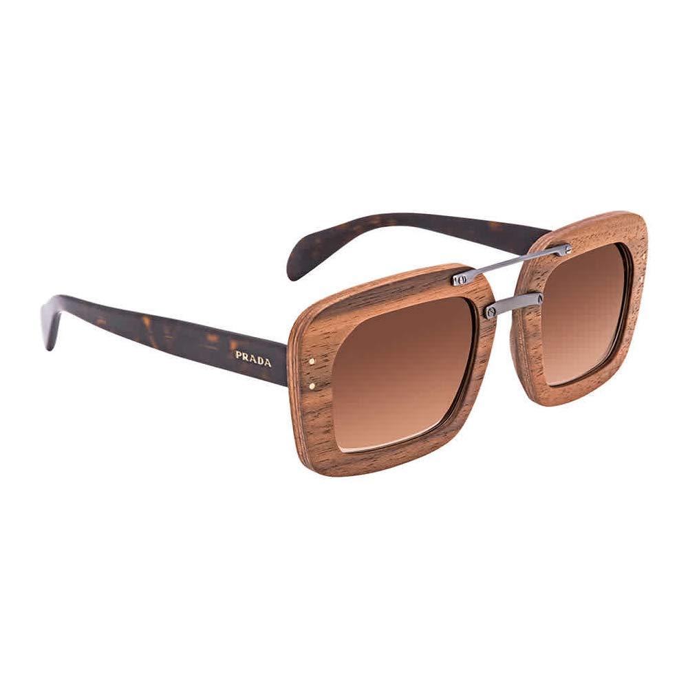 Prada Womens Raw Pr30rs Sunglasses Brown Canaletto Walnut Wood