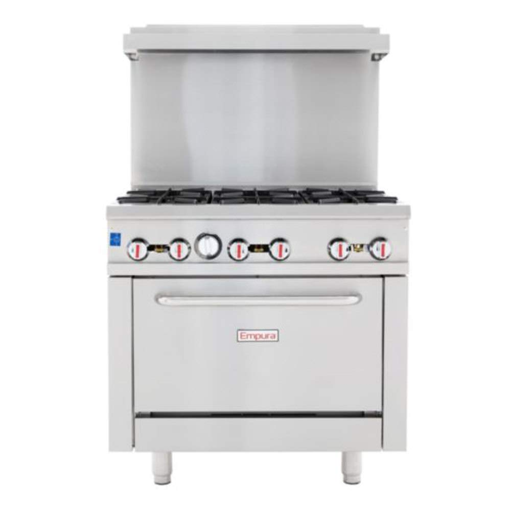 "Empura 36"" Stainless Steel Commercial Gas Range with Oven, 6 Burners, 211,000 BTU"