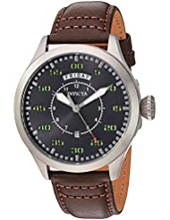 Invicta Mens Aviator Quartz Stainless Steel and Leather Casual Watch, Color:Brown (Model: 22973)