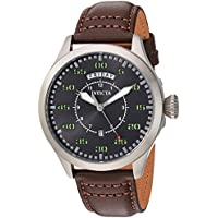 Invicta Men's 'Aviator' Quartz Stainless Steel and Leather Casual Watch, Color:Brown (Model: 22973)
