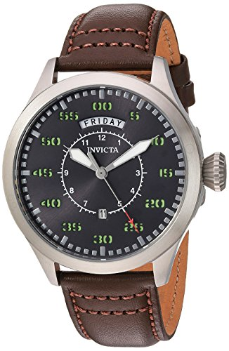 Invicta Men Aviator Stainless Steel Quartz Watch with Leather Calfskin Strap Brown 22 Model 22973