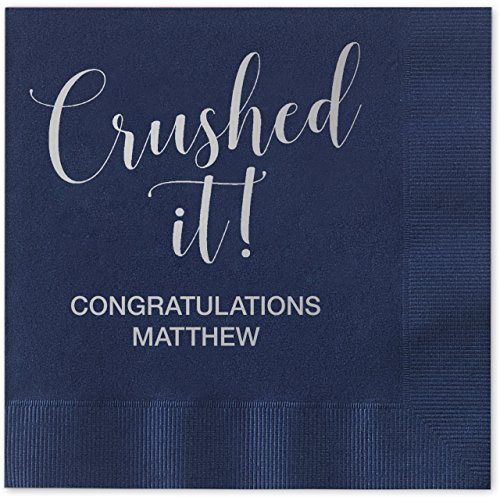 Crushed It! Personalized Beverage Cocktail Napkins - 100