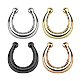 Richbest Gold Silver rose gold Fake Nose Ring fake septum rings Piercing body jewellery Hoop rings For Women (Silver)