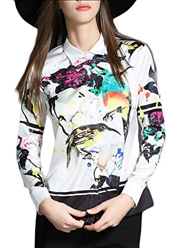 ainr Women's Warm Elegant Long Sleeve Floral Print Button Silk Blouse Photo Color L One Button Print Blouse
