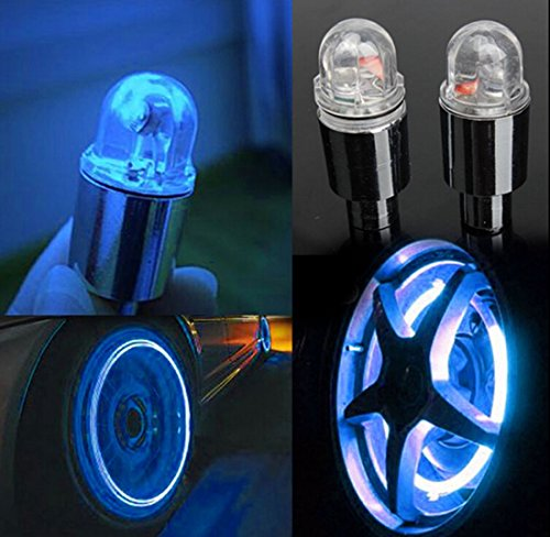 JiaUfmi 4 Pcs LED Automatic Wheel Tire Neon Lights Valve Caps for Car Cycling Bike Bicycle (Blue) (Blue Tire Lights)