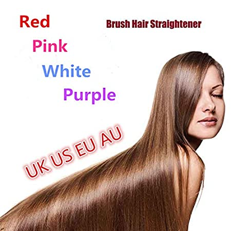 Amazon.com : Ceramic Fast Hair Straightening Brush Comb Hair Straightener Electric Straight Iron Electric Hair Brush Escova Alisadora HQT-906 pink : Beauty