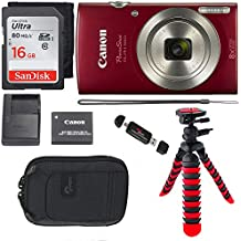 Canon PowerShot ELPH 180 Digital Camera with is and Smart AUTO Mode (RED), SanDisk Ultra 16GB, Camera Case and Premium Accessory Bundle