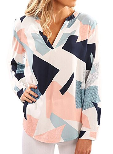 Geometric Print Top (Halife Fashion V Neck Blouses for Women Work Geometric Print Tops Work Shirt Small)