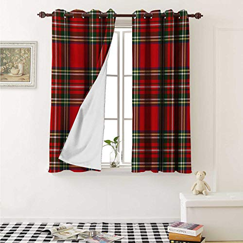 - shenglv Plaid Room Darkening Wide Curtains European Western Culture Inspired Abstract Irish Pattern Vintage Classical Design Window Curtain Drape W108 x L72 Inch Multicolor