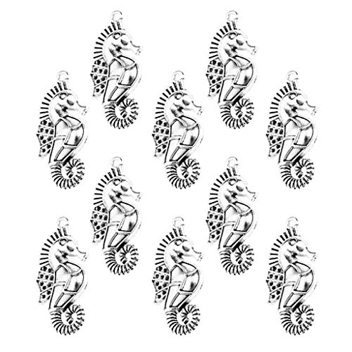 (Fityle 10 Pieces Ancient Creatures Seahorse Charms Pendant for Jewelry Making Hippocampus 3.5x1.7cm Beads)